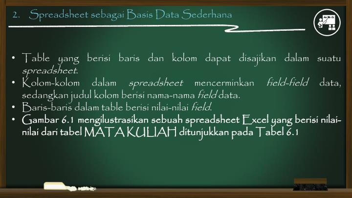 2.    Spreadsheet sebagai Basis Data Sederhana