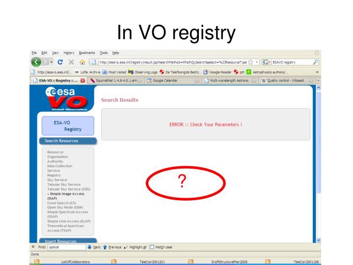In VO registry