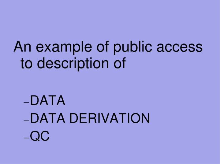 An example of public access to description of