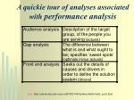 a quickie tour of analyses associated with performance analysis