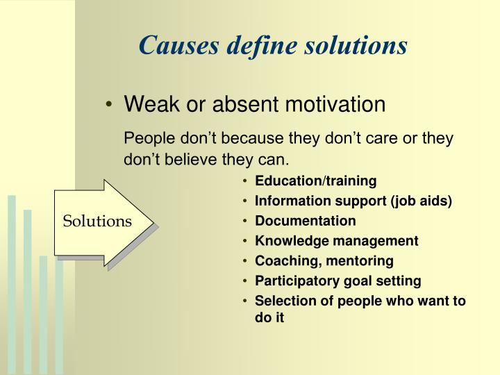 Causes define solutions