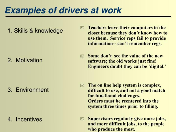 Examples of drivers at work
