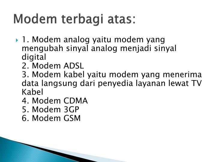 Modem terbagi atas: