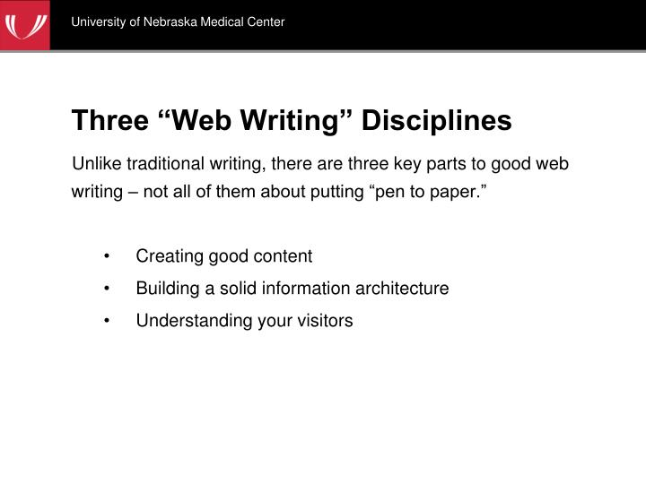 Three web writing disciplines