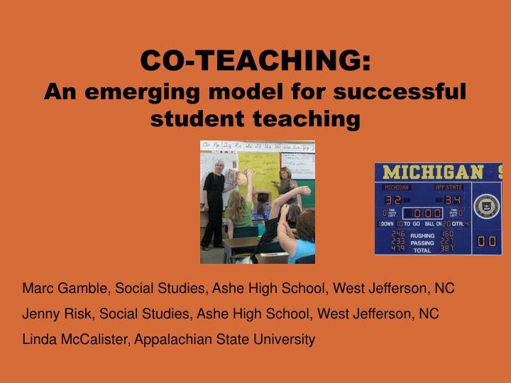 Co teaching an emerging model for successful student teaching