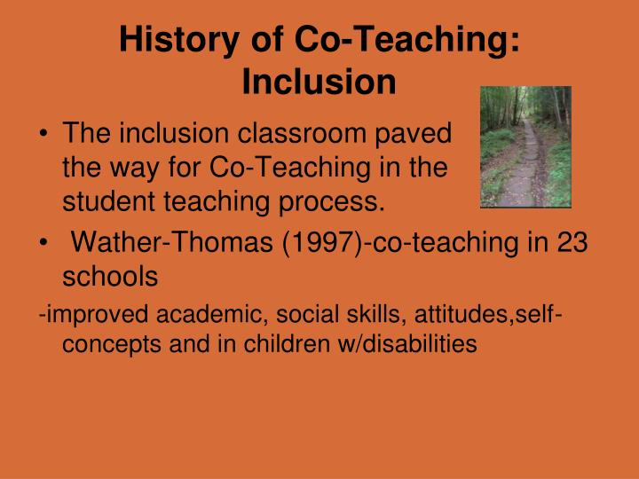 History of co teaching inclusion