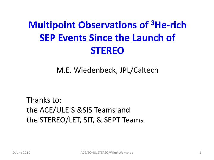 Multipoint Observations of