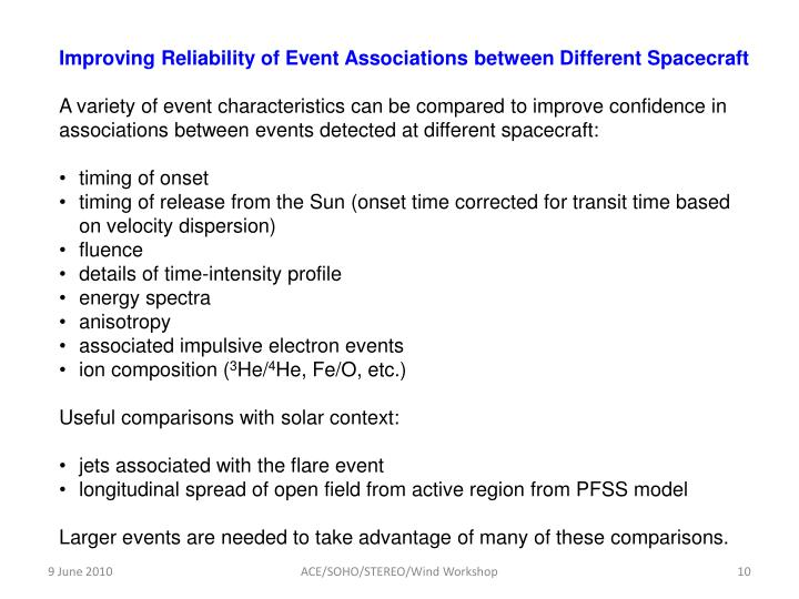 Improving Reliability of Event Associations between Different Spacecraft