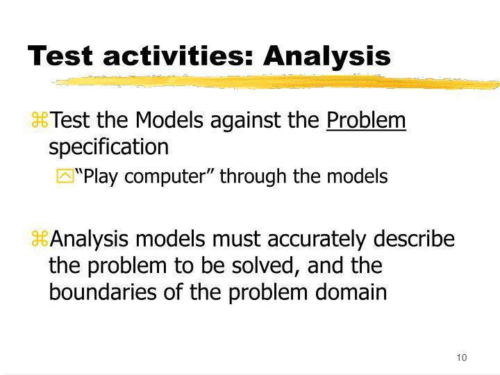Test activities: Analysis