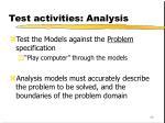 test activities analysis