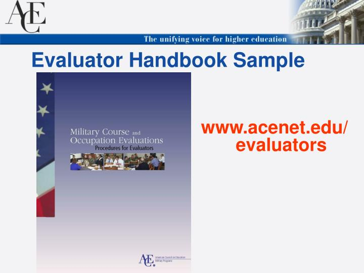 Evaluator Handbook Sample