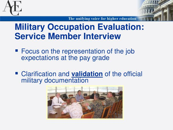 Military Occupation Evaluation: Service Member Interview