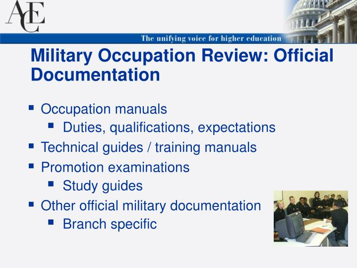 Military Occupation Review: Official Documentation
