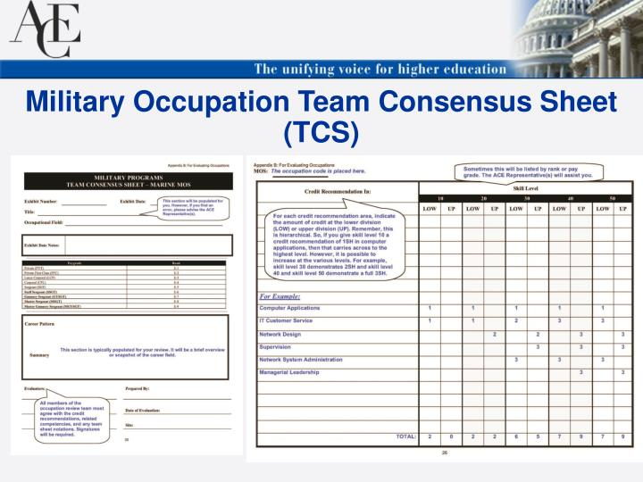 Military Occupation Team Consensus Sheet (TCS)