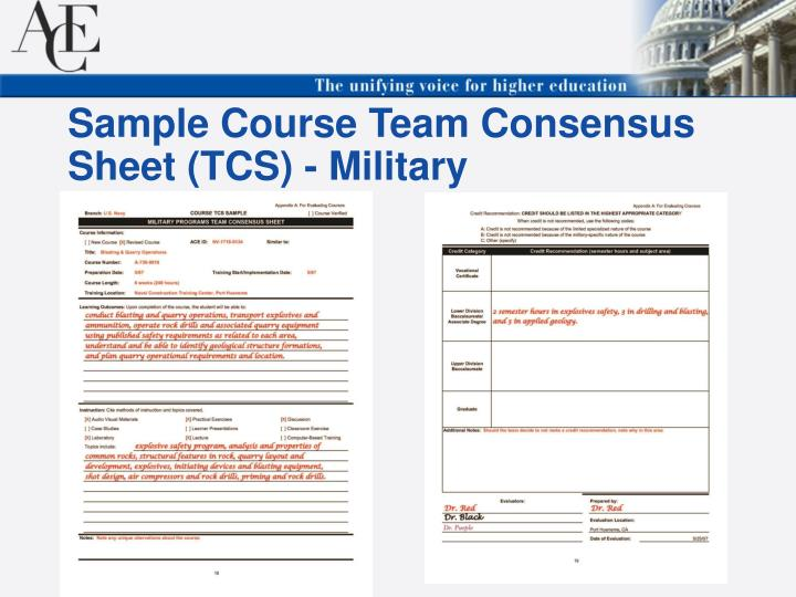 Sample Course Team Consensus Sheet (TCS) - Military