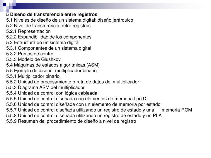 5 Diseño de transferencia entre registros