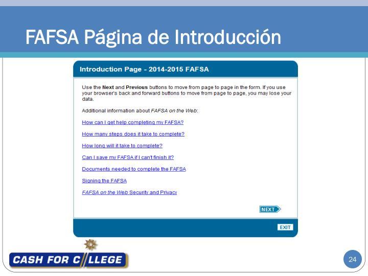 FAFSA Página de Introducción