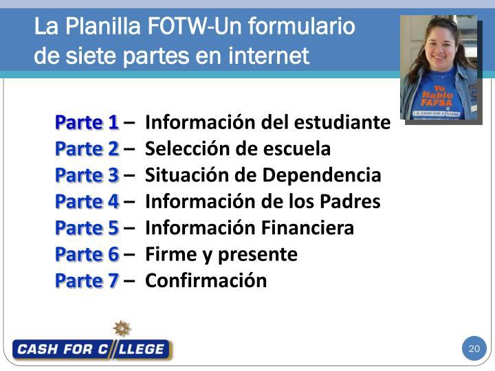 La Planilla FOTW-Un formulario