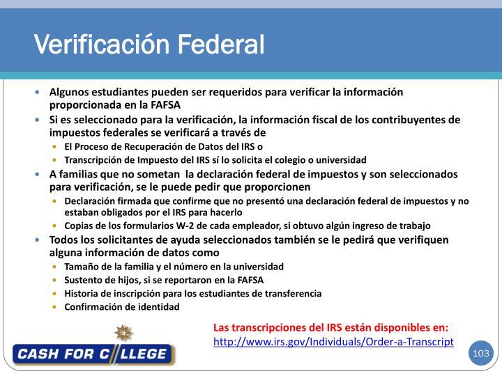 Verificación Federal