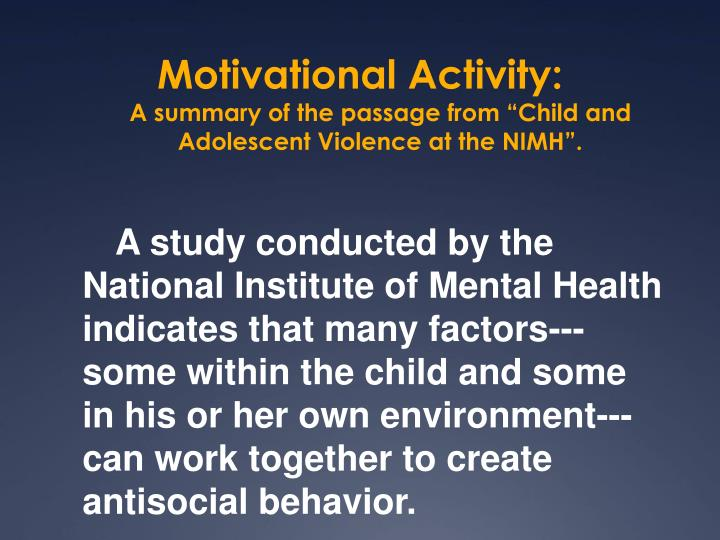 Motivational Activity: