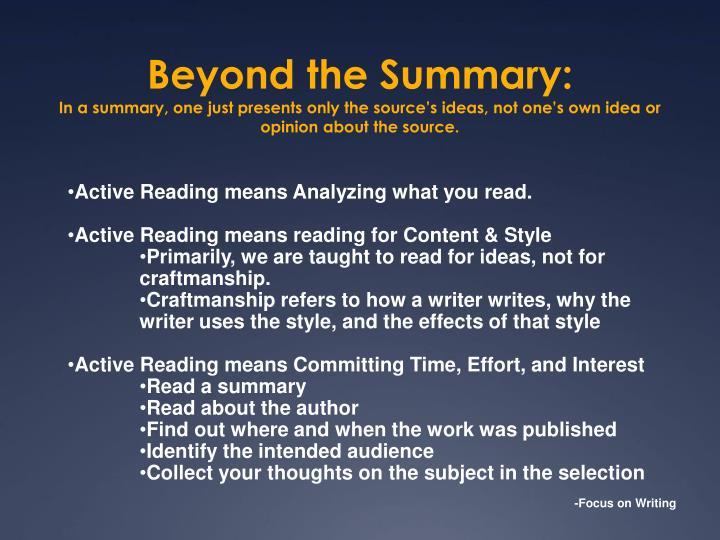 Beyond the Summary: