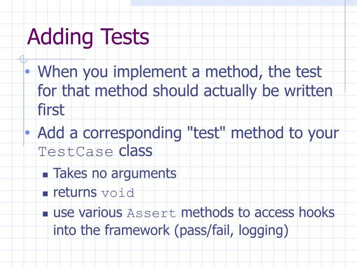 Adding Tests