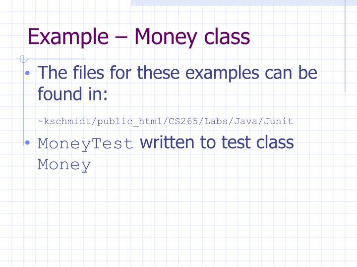 Example – Money class