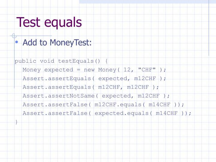 Test equals