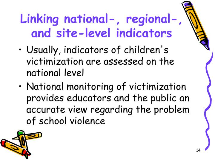 Linking national-, regional-, and site-level indicators