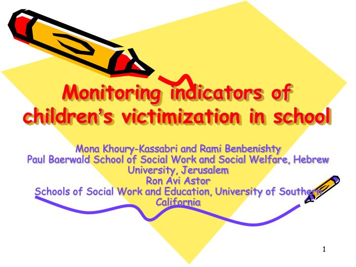 Monitoring indicators of children s victimization in school