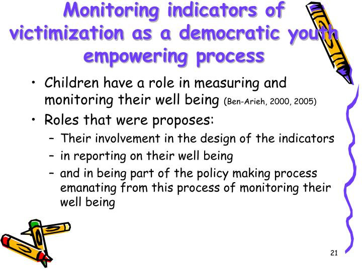 Monitoring indicators of victimization as a democratic youth empowering process