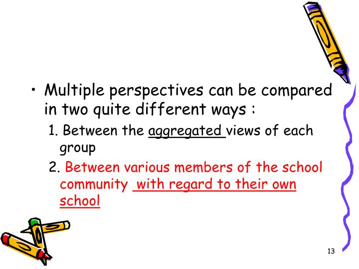 Multiple perspectives can be compared in two quite different ways :