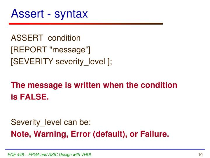 Assert - syntax
