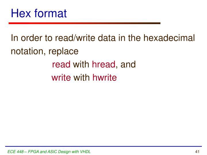 Hex format