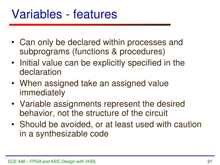 Variables - features