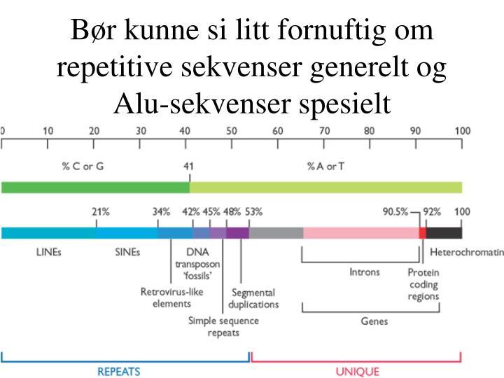 Bør kunne si litt fornuftig om repetitive sekvenser generelt og Alu-sekvenser spesielt