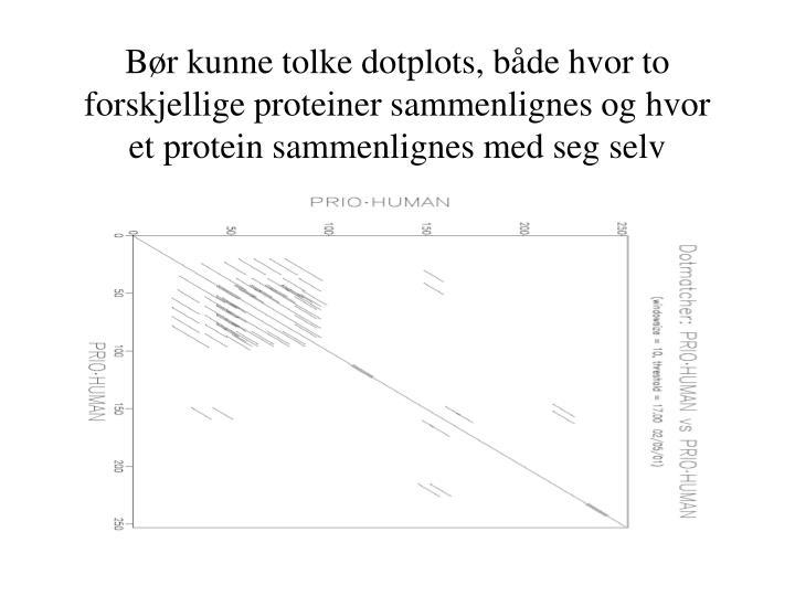 Bør kunne tolke dotplots, både hvor to forskjellige proteiner sammenlignes og hvor et protein sammenlignes med seg selv