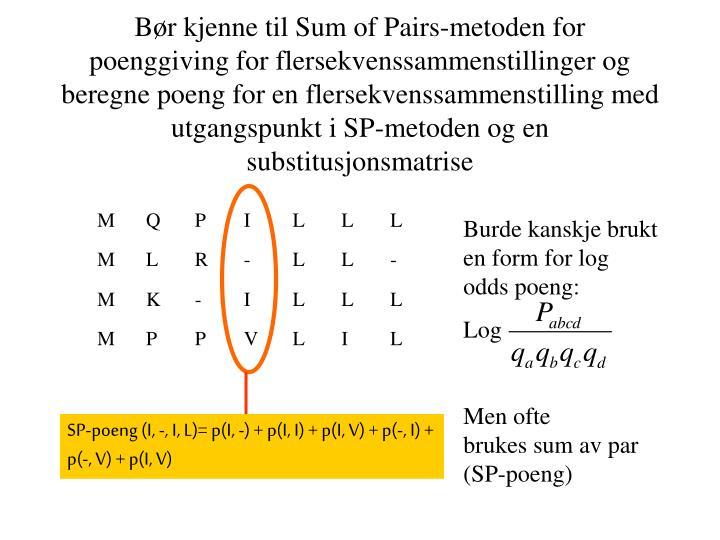 Bør kjenne til Sum of Pairs-metoden for poenggiving for flersekvenssammenstillinger og beregne poeng for en flersekvenssammenstilling med utgangspunkt i SP-metoden og en substitusjonsmatrise
