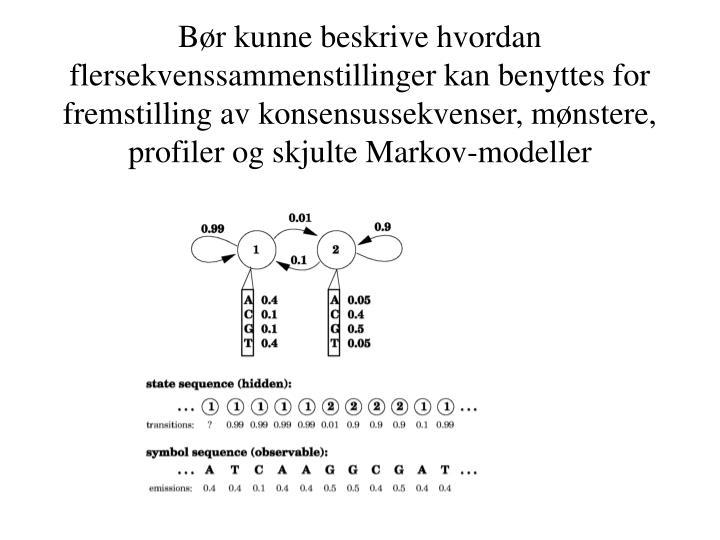 Bør kunne beskrive hvordan flersekvenssammenstillinger kan benyttes for fremstilling av konsensussekvenser, mønstere, profiler og skjulte Markov-modeller
