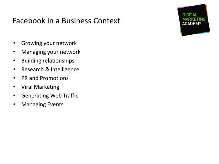 Facebook in a Business Context