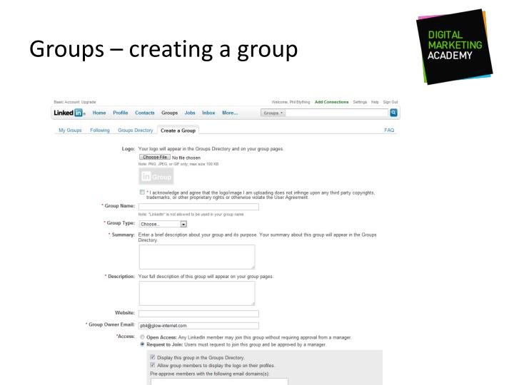 Groups – creating a group