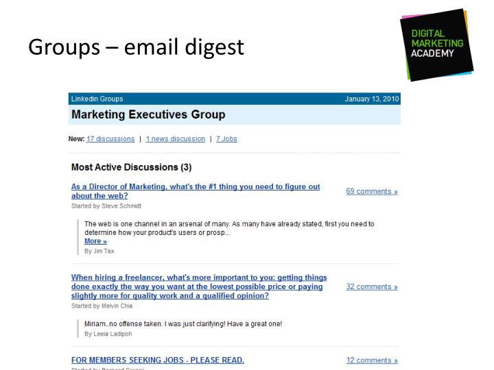 Groups – email digest