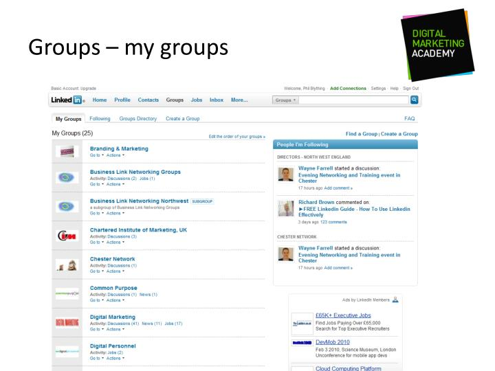 Groups – my groups