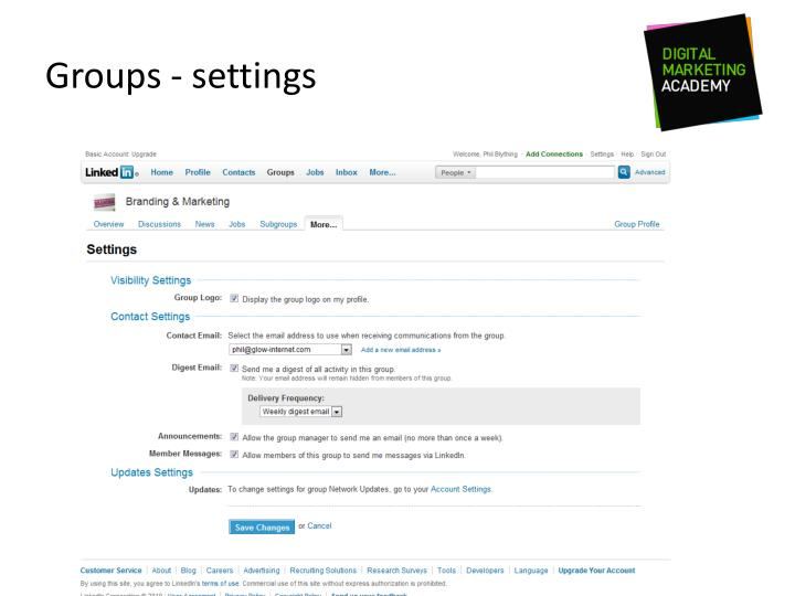 Groups - settings