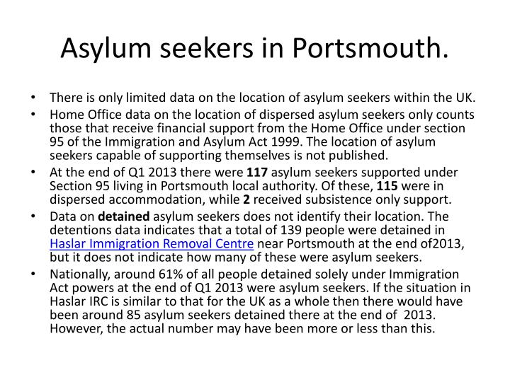 Asylum seekers in Portsmouth.