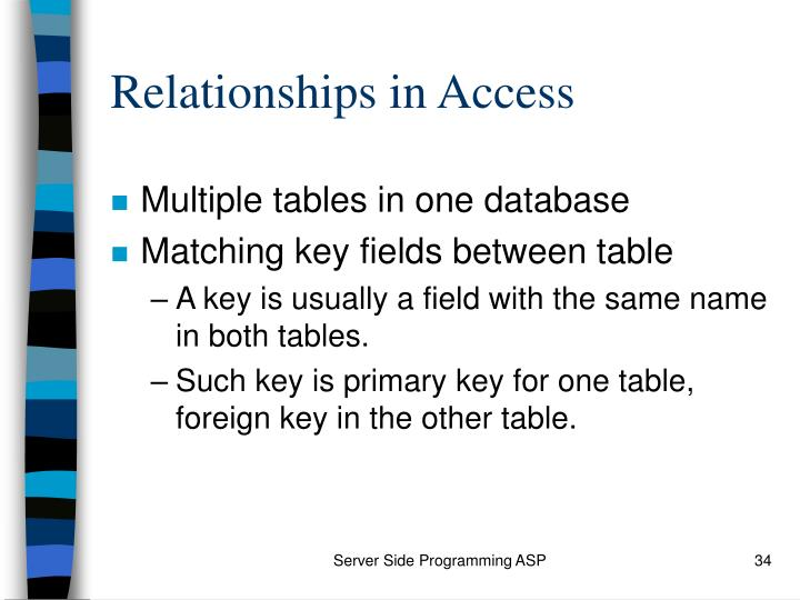 Relationships in Access