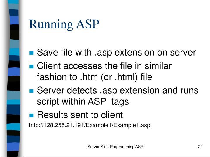 Running ASP