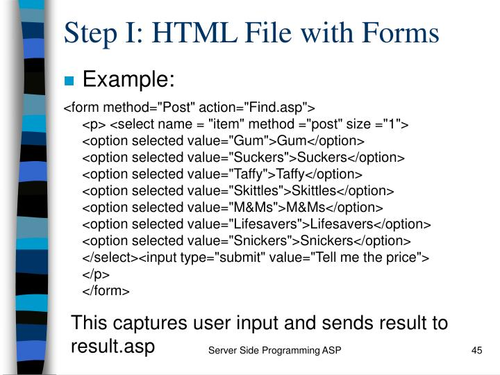 Step I: HTML File with Forms