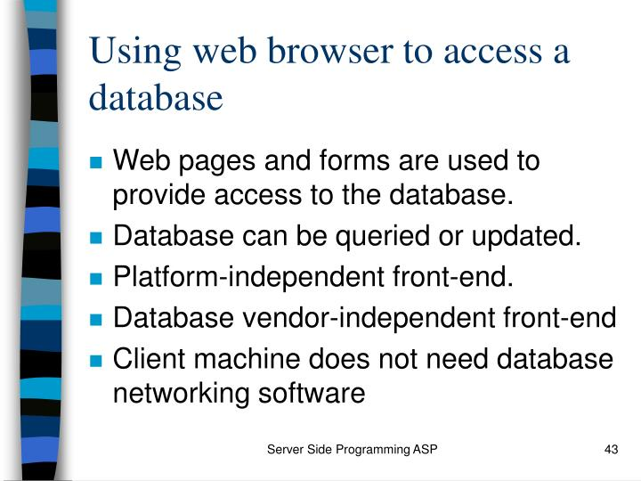 Using web browser to access a database