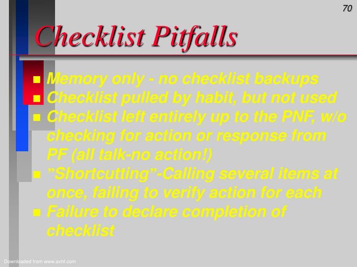 Checklist Pitfalls